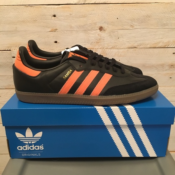 60235273799 ... top quality nwt adidas samba og black hi res orange 9 9.5 d0923 3293f